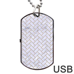 BRICK2 WHITE MARBLE & SAND (R) Dog Tag USB Flash (One Side)