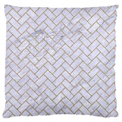 BRICK2 WHITE MARBLE & SAND (R) Large Cushion Case (One Side)