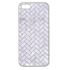 BRICK2 WHITE MARBLE & SAND (R) Apple Seamless iPhone 5 Case (Clear)