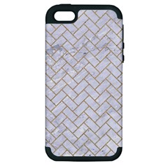 BRICK2 WHITE MARBLE & SAND (R) Apple iPhone 5 Hardshell Case (PC+Silicone)