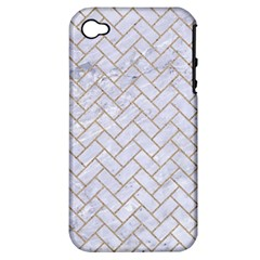 BRICK2 WHITE MARBLE & SAND (R) Apple iPhone 4/4S Hardshell Case (PC+Silicone)