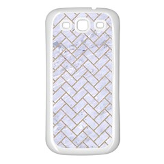 BRICK2 WHITE MARBLE & SAND (R) Samsung Galaxy S3 Back Case (White)