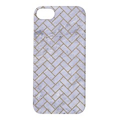 BRICK2 WHITE MARBLE & SAND (R) Apple iPhone 5S/ SE Hardshell Case