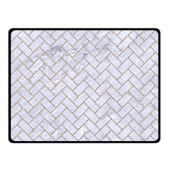 BRICK2 WHITE MARBLE & SAND (R) Double Sided Fleece Blanket (Small)