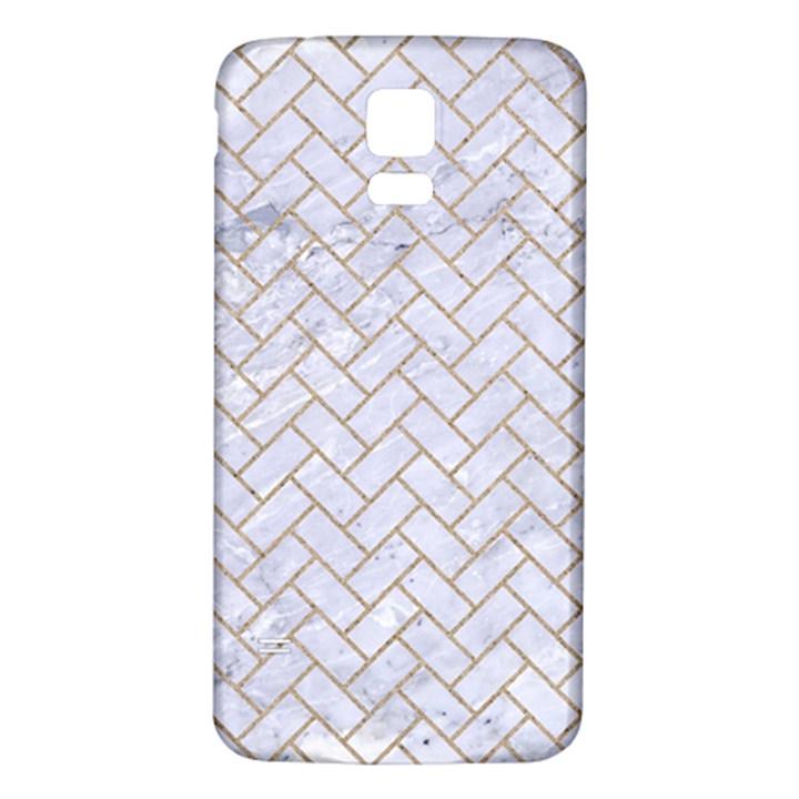 BRICK2 WHITE MARBLE & SAND (R) Samsung Galaxy S5 Back Case (White)