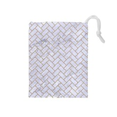 BRICK2 WHITE MARBLE & SAND (R) Drawstring Pouches (Medium)