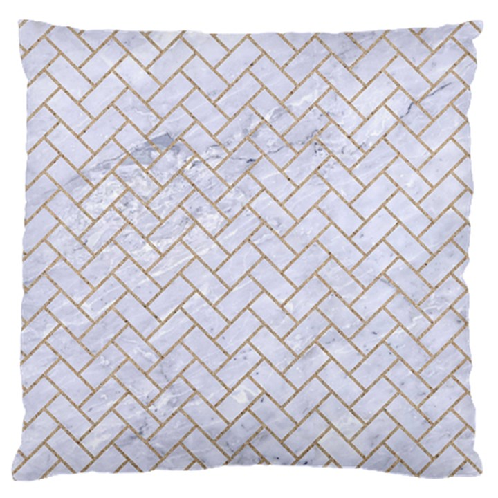 BRICK2 WHITE MARBLE & SAND (R) Large Flano Cushion Case (One Side)