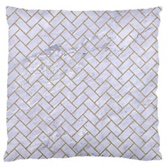 BRICK2 WHITE MARBLE & SAND (R) Large Flano Cushion Case (Two Sides)