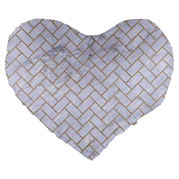 BRICK2 WHITE MARBLE & SAND (R) Large 19  Premium Flano Heart Shape Cushions