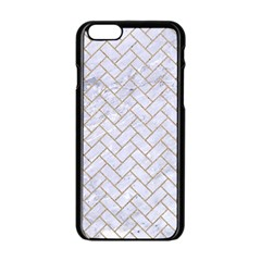 BRICK2 WHITE MARBLE & SAND (R) Apple iPhone 6/6S Black Enamel Case