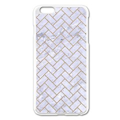 BRICK2 WHITE MARBLE & SAND (R) Apple iPhone 6 Plus/6S Plus Enamel White Case