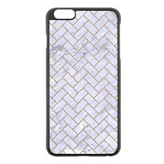BRICK2 WHITE MARBLE & SAND (R) Apple iPhone 6 Plus/6S Plus Black Enamel Case