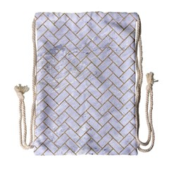 BRICK2 WHITE MARBLE & SAND (R) Drawstring Bag (Large)