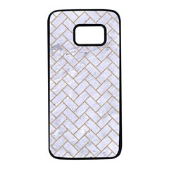 BRICK2 WHITE MARBLE & SAND (R) Samsung Galaxy S7 Black Seamless Case