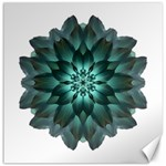 Blue-Green Dahlia Flower Mandala Canvas 16  x 16