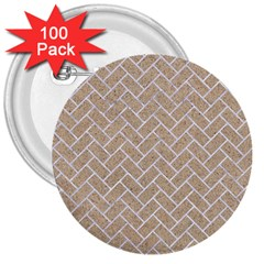 BRICK2 WHITE MARBLE & SAND 3  Buttons (100 pack)