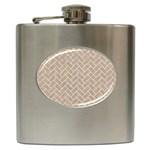 BRICK2 WHITE MARBLE & SAND Hip Flask (6 oz) Front