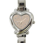 BRICK2 WHITE MARBLE & SAND Heart Italian Charm Watch Front