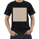 BRICK2 WHITE MARBLE & SAND Men s T-Shirt (Black) (Two Sided) Front