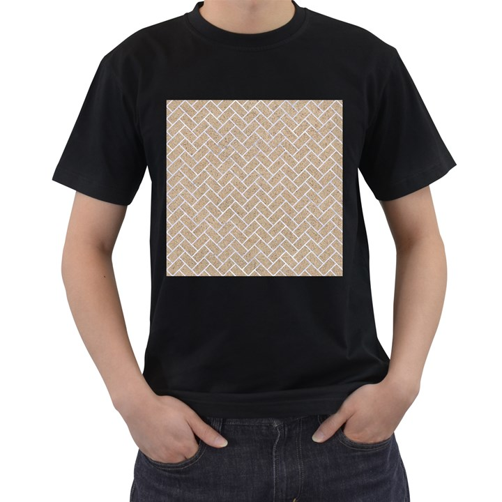 BRICK2 WHITE MARBLE & SAND Men s T-Shirt (Black) (Two Sided)