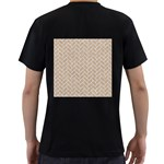 BRICK2 WHITE MARBLE & SAND Men s T-Shirt (Black) (Two Sided) Back