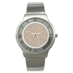 BRICK2 WHITE MARBLE & SAND Stainless Steel Watch