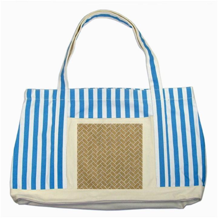 BRICK2 WHITE MARBLE & SAND Striped Blue Tote Bag