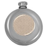 BRICK2 WHITE MARBLE & SAND Round Hip Flask (5 oz) Front