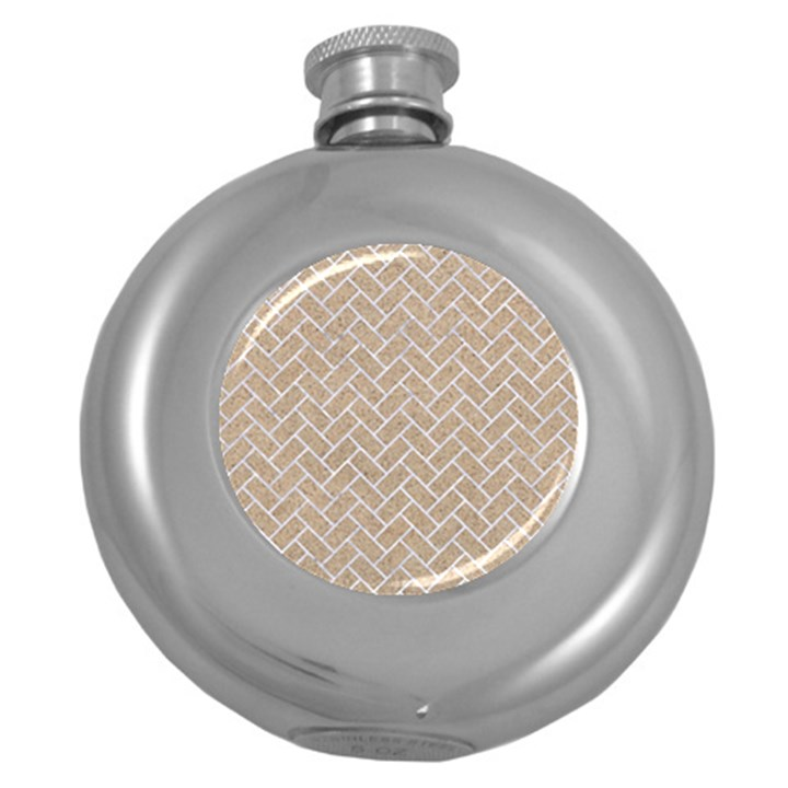 BRICK2 WHITE MARBLE & SAND Round Hip Flask (5 oz)