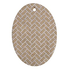 BRICK2 WHITE MARBLE & SAND Oval Ornament (Two Sides)