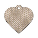 BRICK2 WHITE MARBLE & SAND Dog Tag Heart (Two Sides) Front