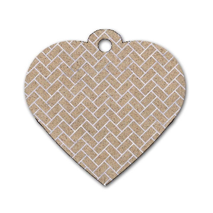 BRICK2 WHITE MARBLE & SAND Dog Tag Heart (Two Sides)