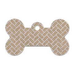 BRICK2 WHITE MARBLE & SAND Dog Tag Bone (One Side)