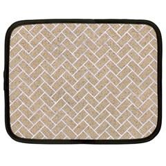 BRICK2 WHITE MARBLE & SAND Netbook Case (XL)