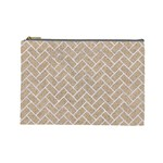 BRICK2 WHITE MARBLE & SAND Cosmetic Bag (Large)  Front