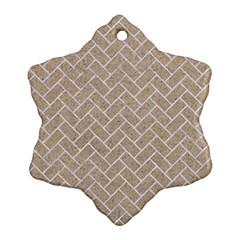 Brick2 White Marble & Sand Ornament (snowflake)
