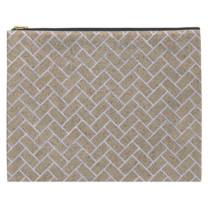 BRICK2 WHITE MARBLE & SAND Cosmetic Bag (XXXL)