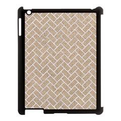 BRICK2 WHITE MARBLE & SAND Apple iPad 3/4 Case (Black)