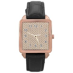 Brick2 White Marble & Sand Rose Gold Leather Watch  by trendistuff