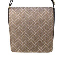 BRICK2 WHITE MARBLE & SAND Flap Messenger Bag (L)