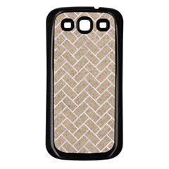 BRICK2 WHITE MARBLE & SAND Samsung Galaxy S3 Back Case (Black)