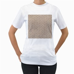 Brick2 White Marble & Sand Women s T Shirt (white)