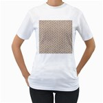 BRICK2 WHITE MARBLE & SAND Women s T-Shirt (White)  Front