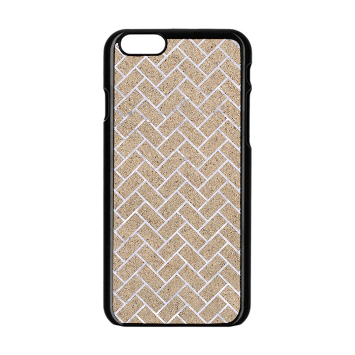 BRICK2 WHITE MARBLE & SAND Apple iPhone 6/6S Black Enamel Case