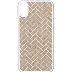 BRICK2 WHITE MARBLE & SAND Apple iPhone X Seamless Case (White)