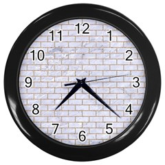 Brick1 White Marble & Sand (r) Wall Clocks (black)