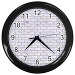BRICK1 WHITE MARBLE & SAND (R) Wall Clocks (Black) Front