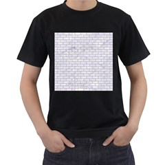 Brick1 White Marble & Sand (r) Men s T Shirt (black) (two Sided)