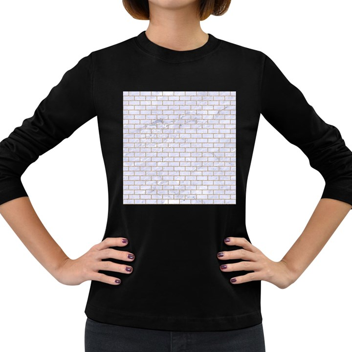 BRICK1 WHITE MARBLE & SAND (R) Women s Long Sleeve Dark T-Shirts