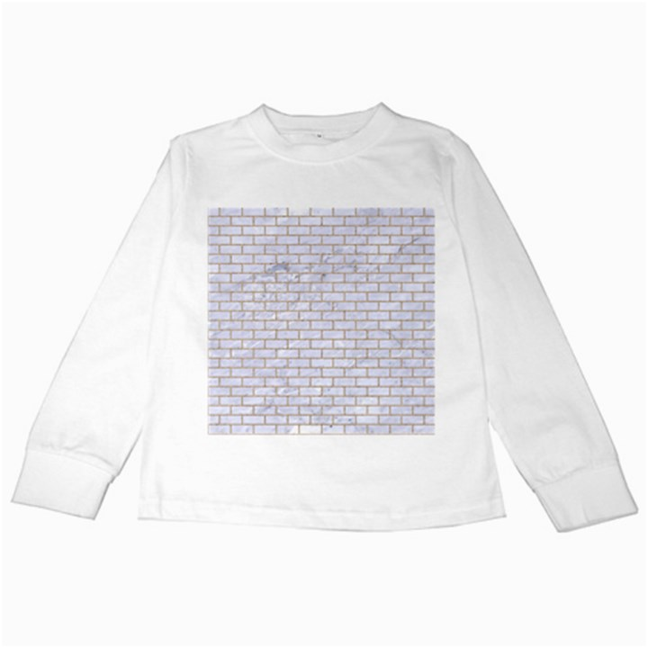 BRICK1 WHITE MARBLE & SAND (R) Kids Long Sleeve T-Shirts